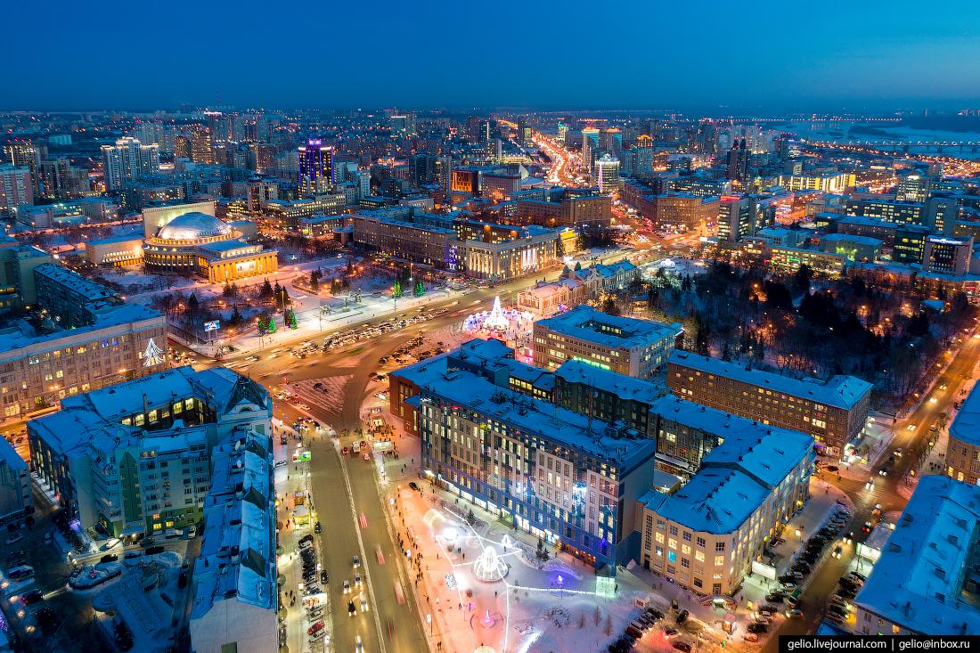 площадь ленина Зимний Новосибирск с высоты