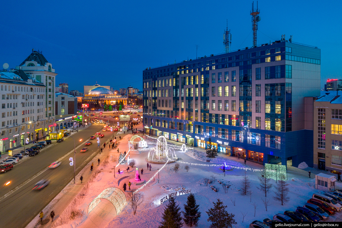 сквер орджоникидзе Зимний Новосибирск с высоты