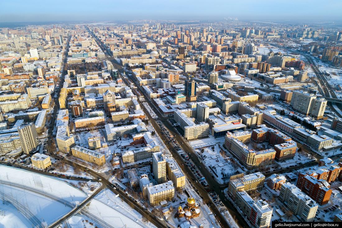 Красный проспект Зимний Новосибирск с высоты