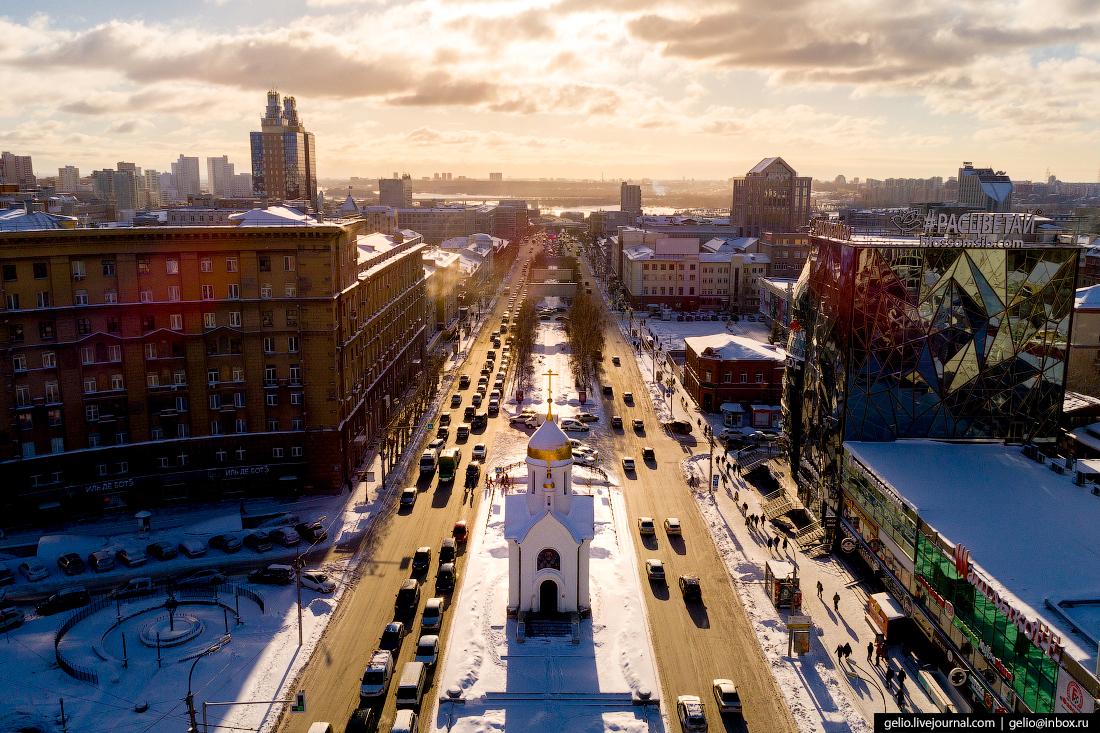 Часовня Николая Чудотворца Зимний Новосибирск с высоты
