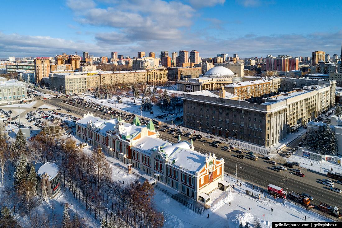 Новосибирский Краеведческий музей Зимний Новосибирск с высоты