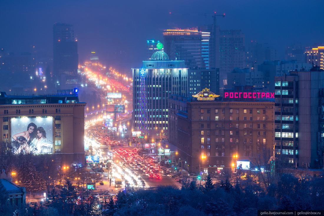 Октябрьская магистраль Зимний Новосибирск с высоты