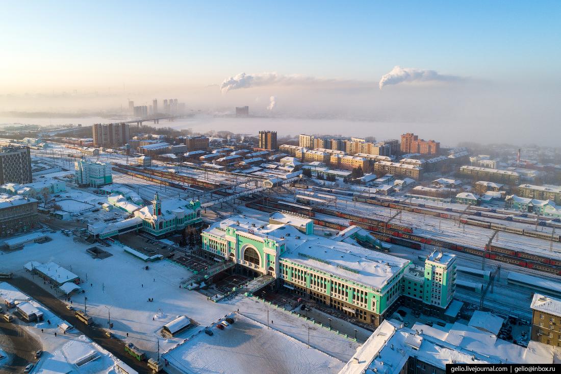 вокзал Зимний Новосибирск с высоты