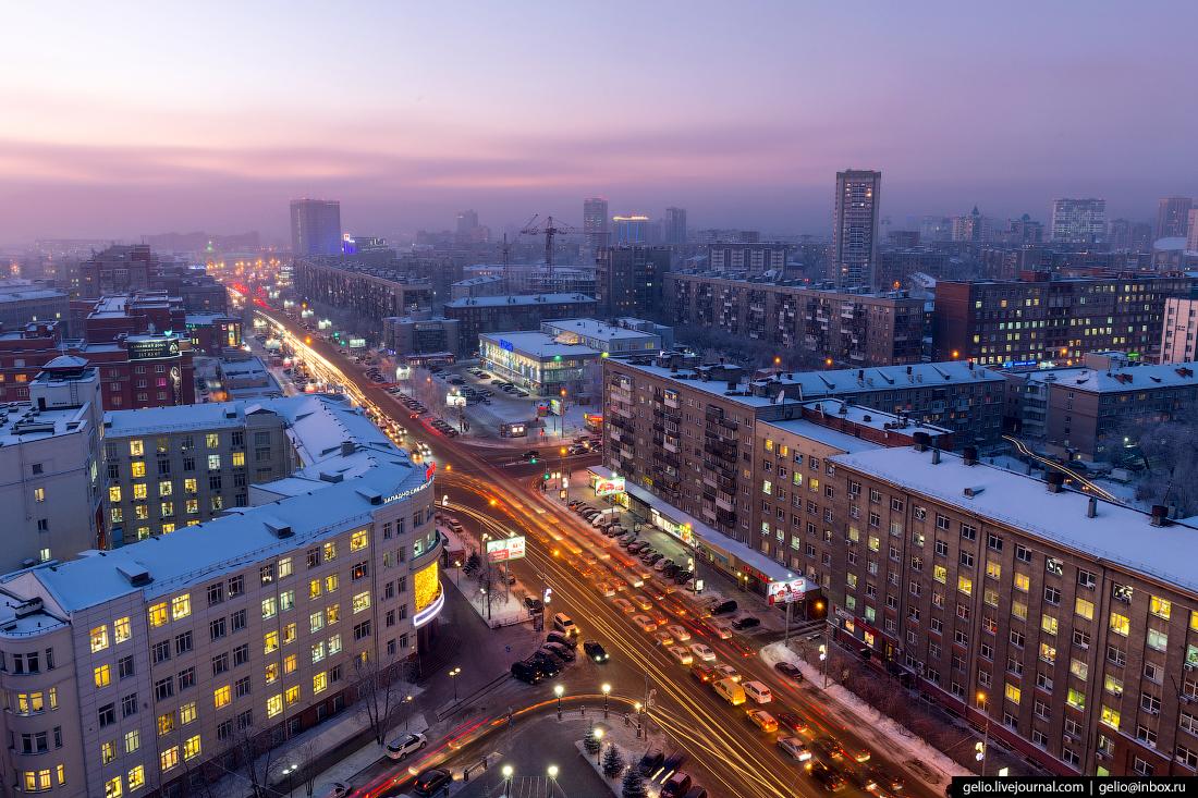 Зимний Новосибирск Вокзальная магистраль