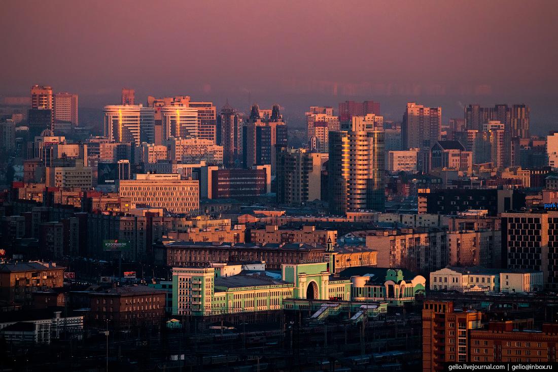 Зимний Новосибирск с высоты закат