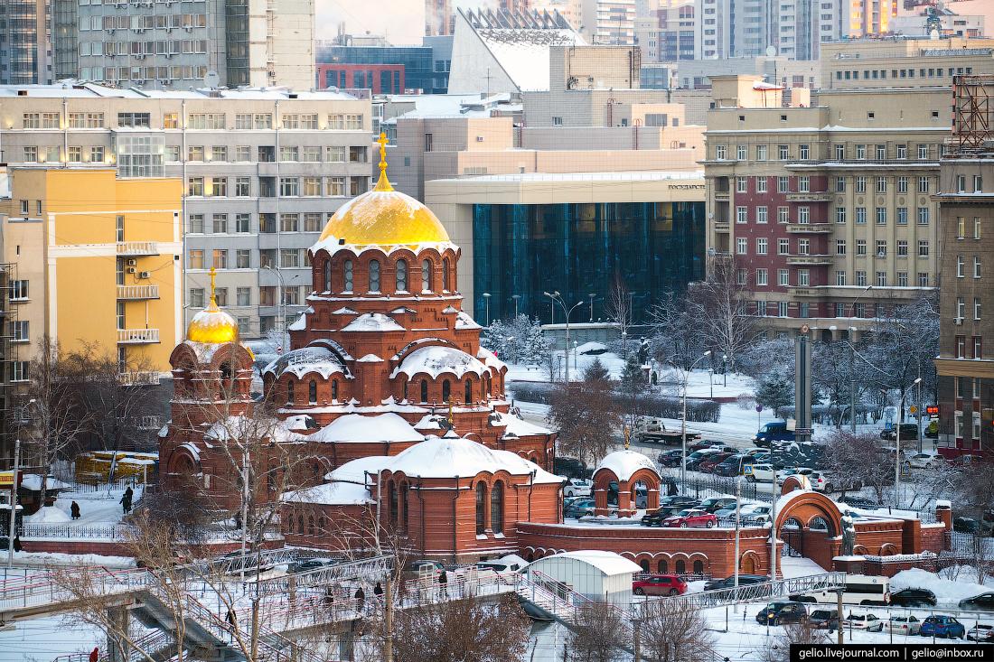 Собор Александра Невского Зимний Новосибирск с высоты
