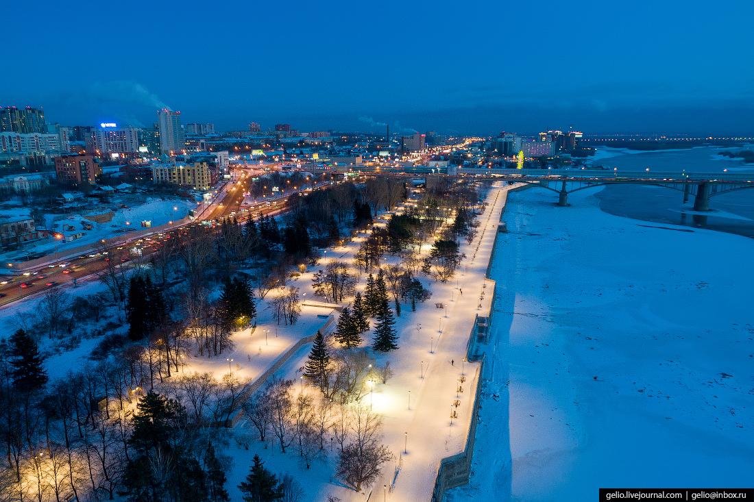 Михайловская набережная Зимний Новосибирск с высоты