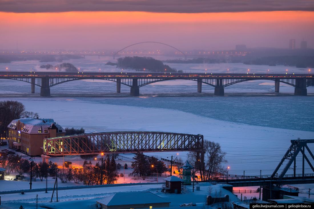 мосты Зимний Новосибирск с высоты