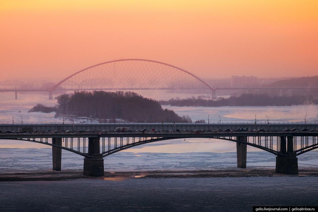 Коммунальный мост Зимний Новосибирск с высоты