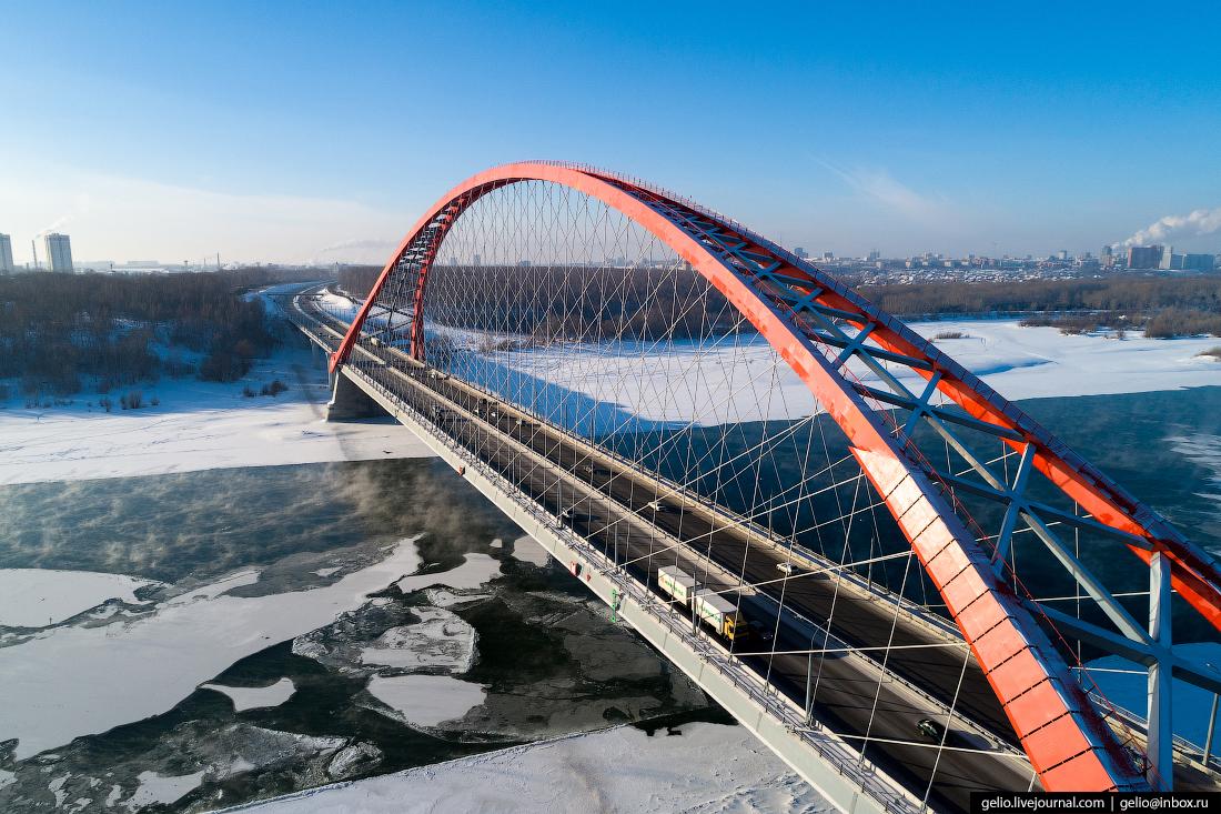 Бугринский мост Зимний Новосибирск с высоты