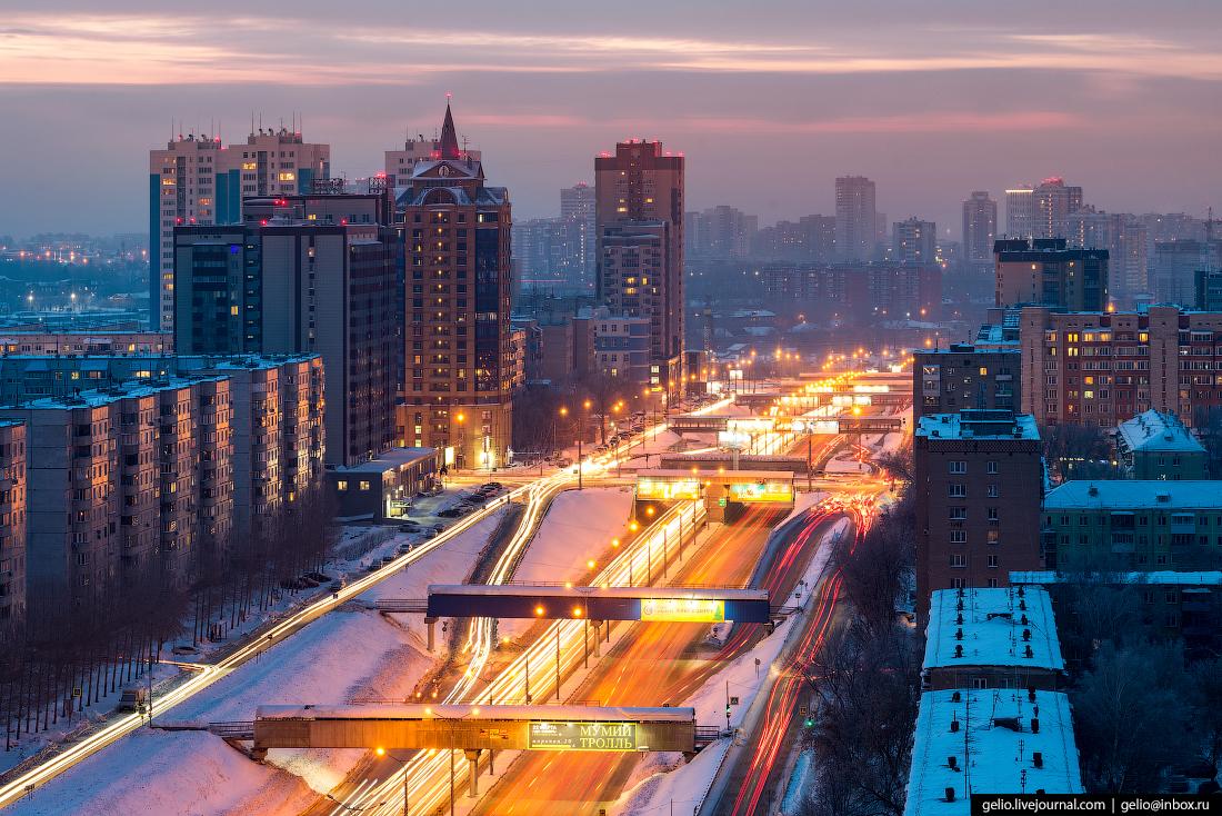 Ипподромская магистраль Зимний Новосибирск с высоты