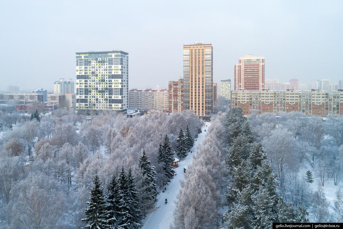 Нарымский сквер Зимний Новосибирск с высоты