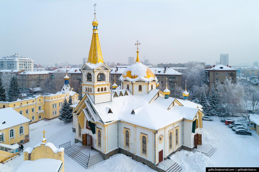Вознесенский кафедральный собор Зимний Новосибирск с высоты