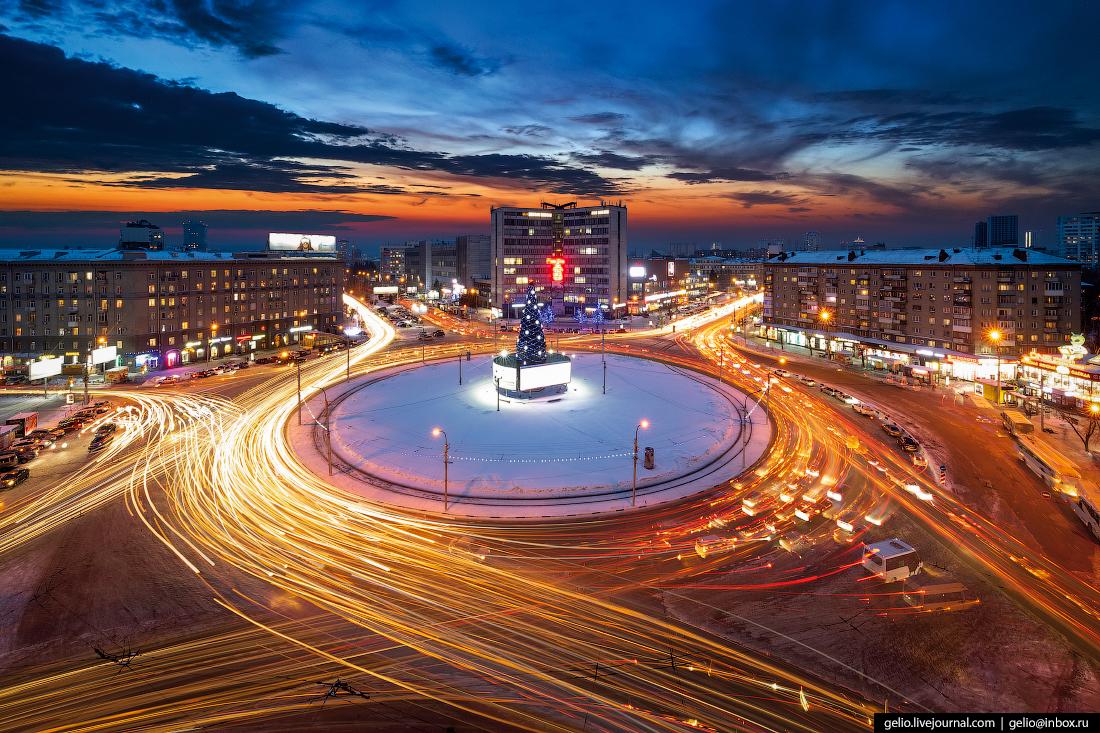 Улица Нарымская Зимний Новосибирск с высоты