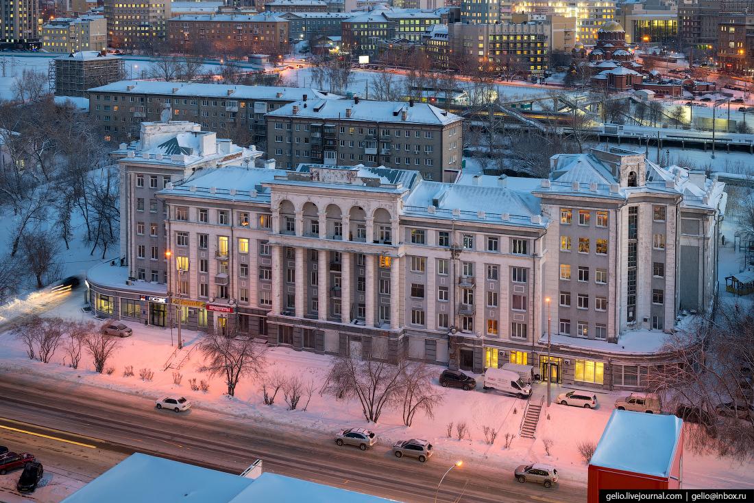Дом грузчиков Зимний Новосибирск с высоты