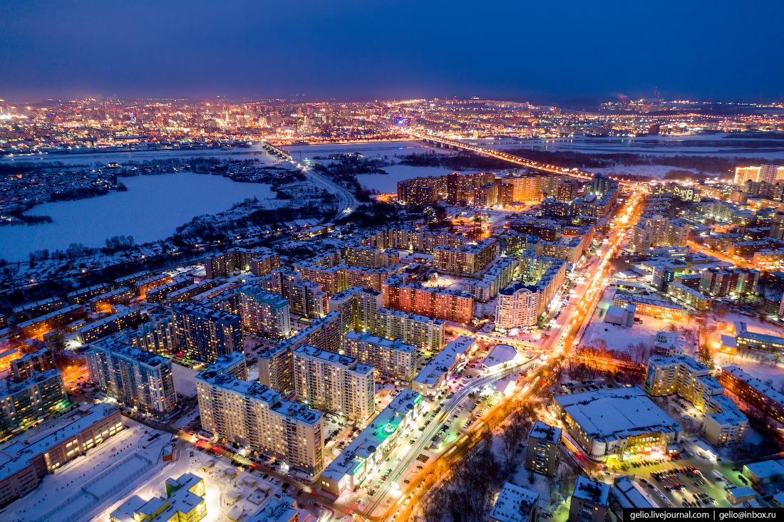 Микрорайон Горский Зимний Новосибирск с высоты