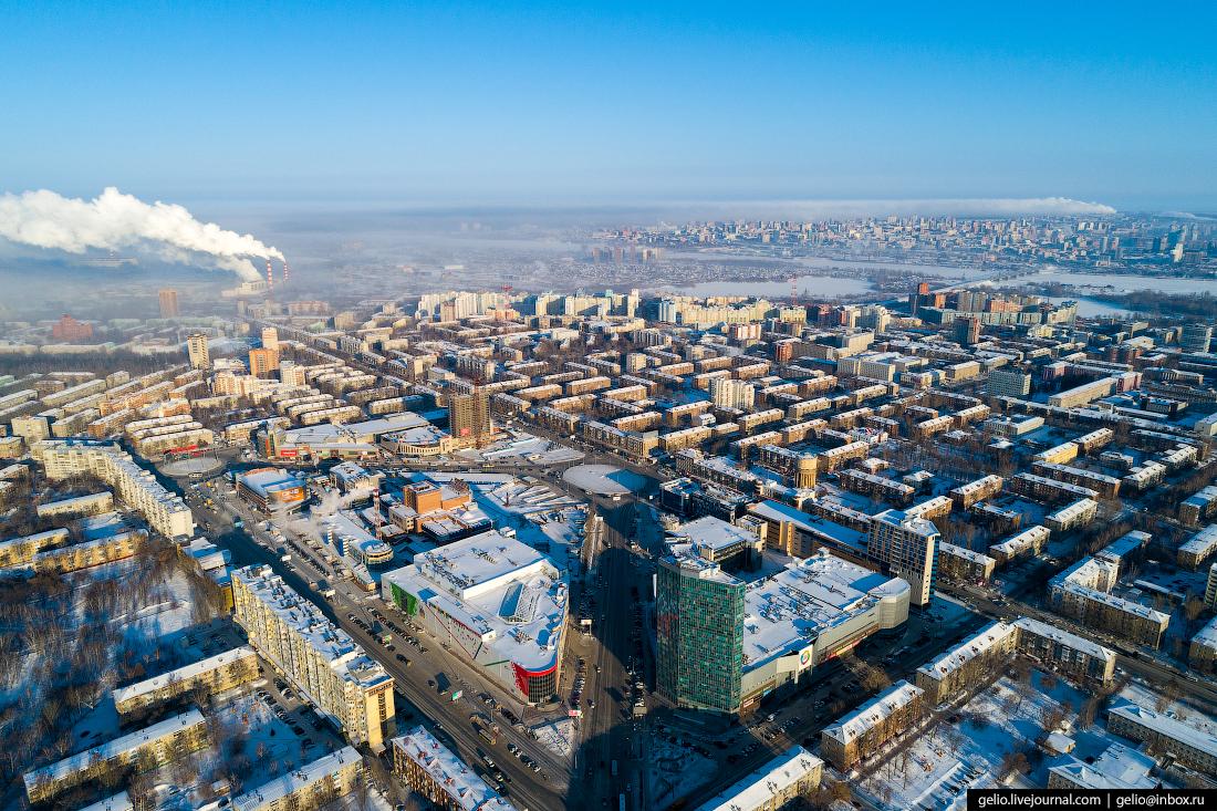 Зимний Новосибирск с высоты Площадь Маркса