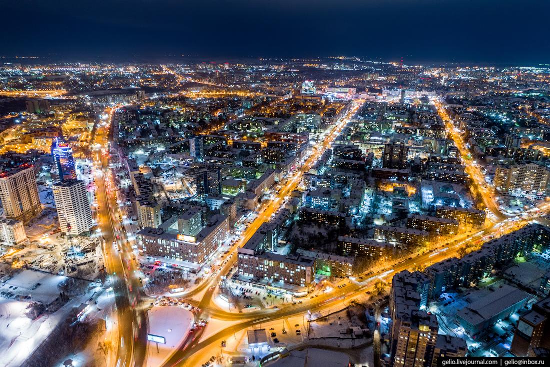 Зимний Новосибирск с высоты Проспект Маркса