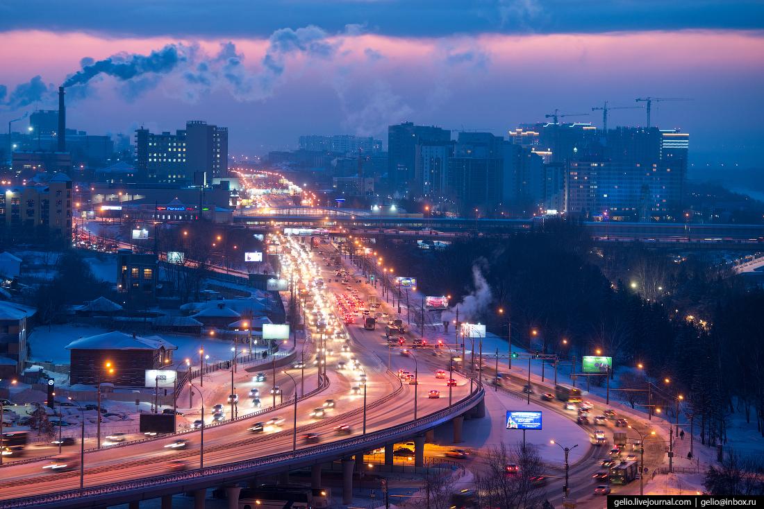 Зимний Новосибирск с высоты Большевистская