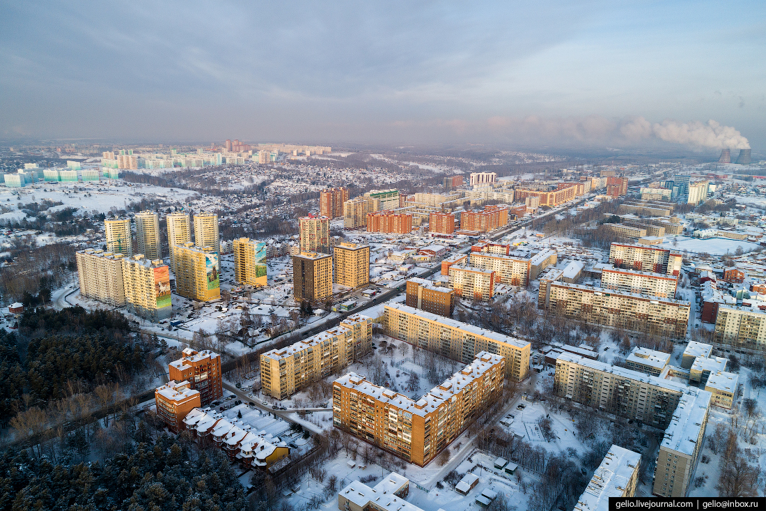 Зимний Новосибирск с высоты жилмассив Энергостроителей