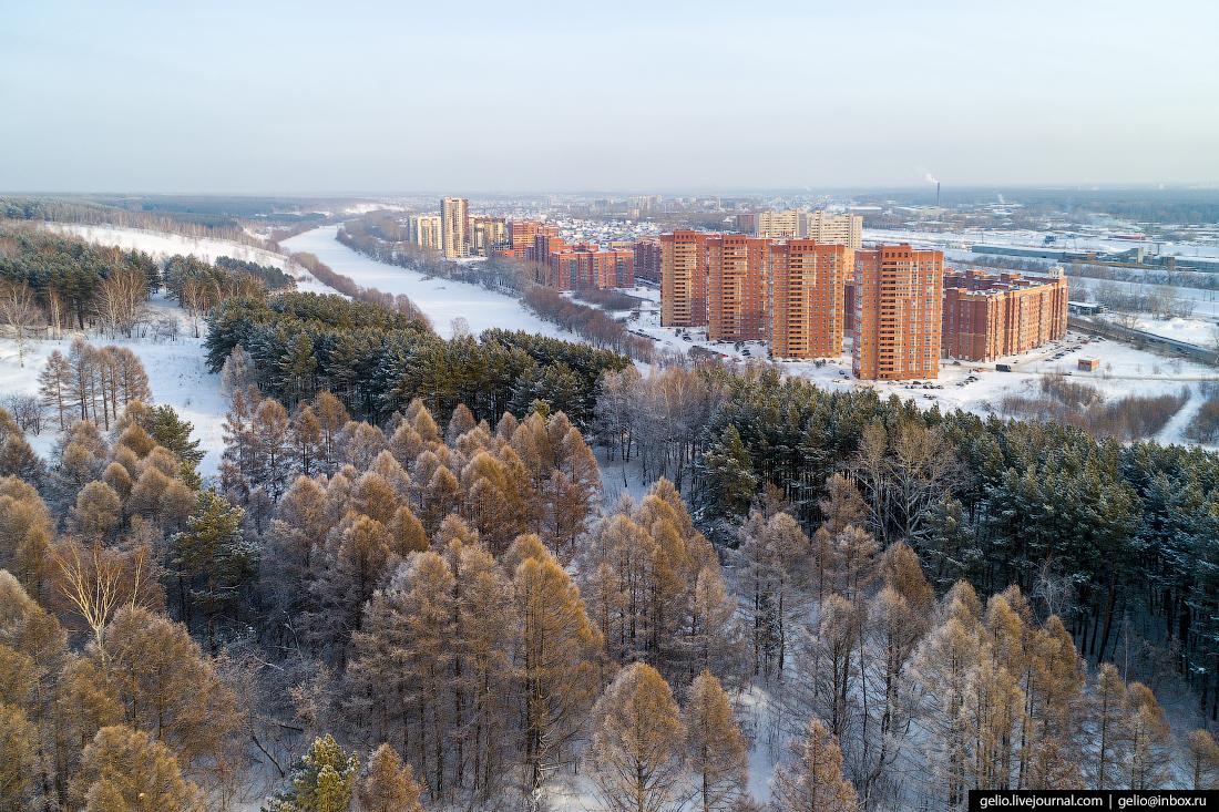 Зимний Новосибирск с высоты микрорайон Весенний