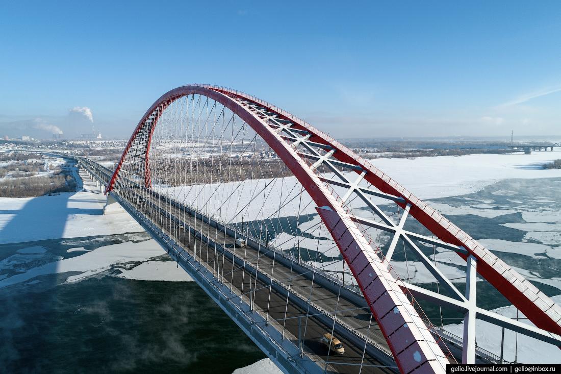 Зимний Новосибирск Бугринский мост