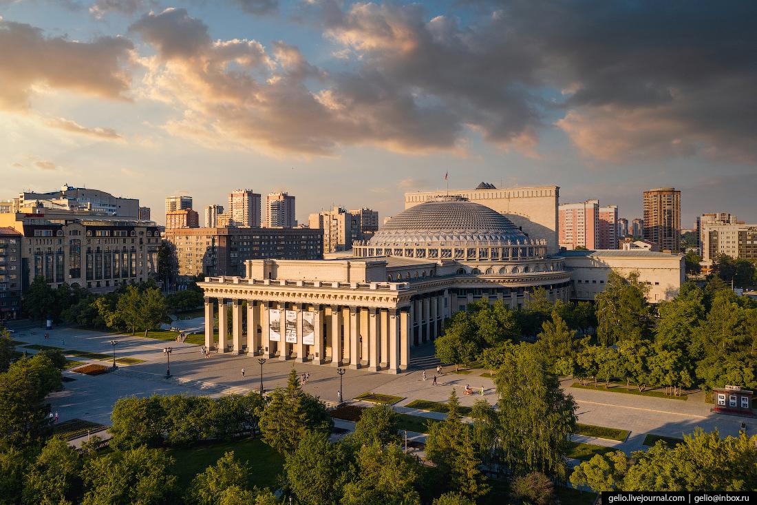 Новосибирск с высоты оперный театр НОВАТ