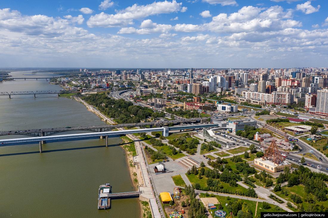 Новосибирск с высоты михайловская набережная обь