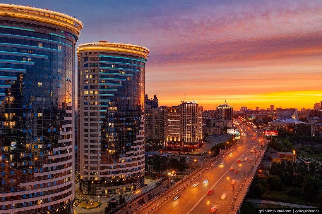 Новосибирск с высоты Октябрьская магистраль