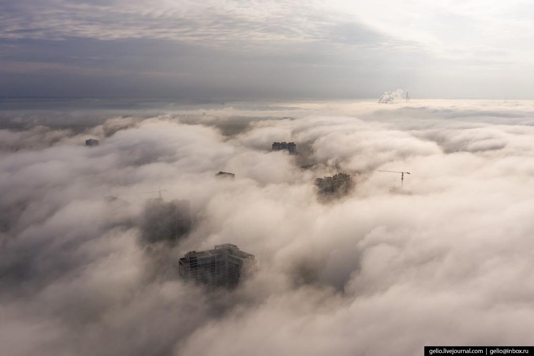 Новосибирск с высоты туман
