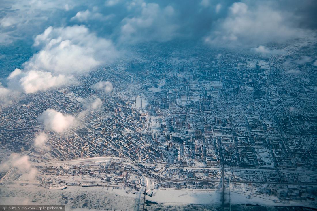 Зимний Новосибирск, с высоты