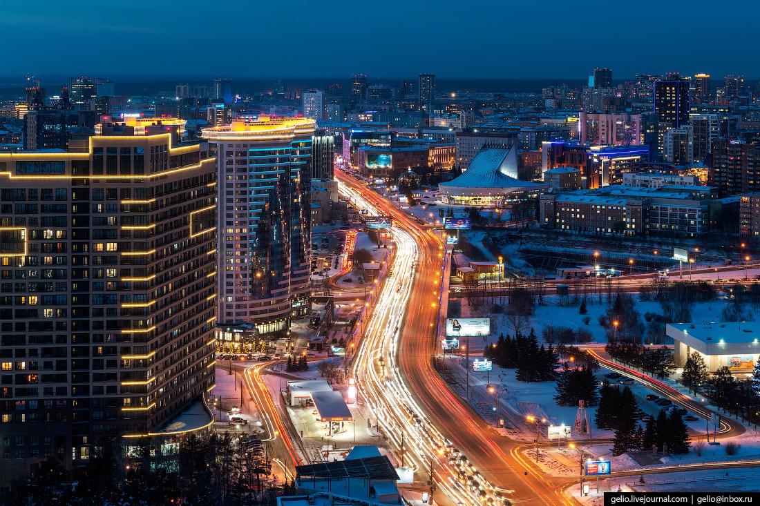 Зимний Новосибирск, Кирова, октябрьская магистраль
