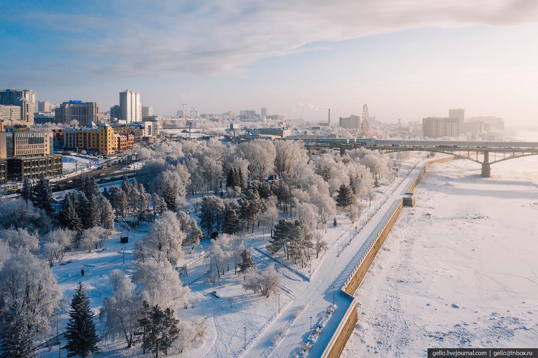 Зимний Новосибирск, набережная михайловская