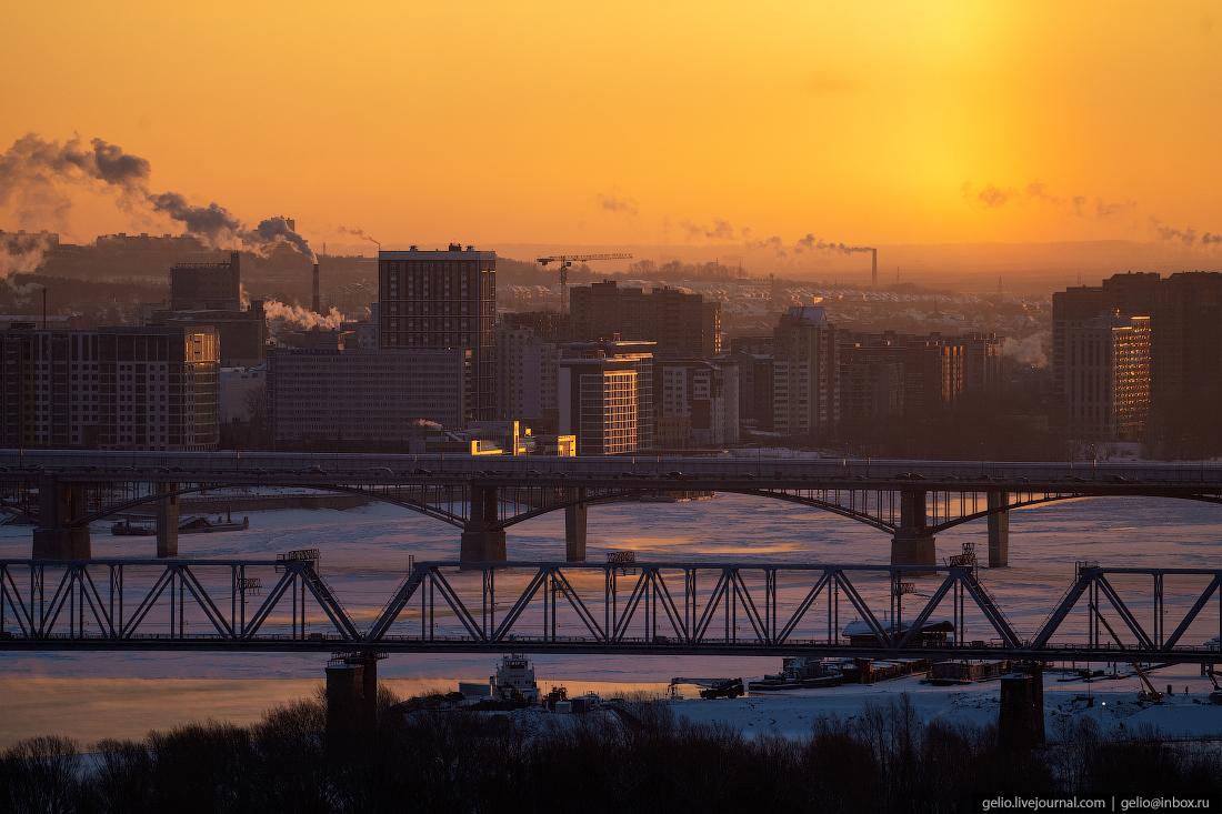 Зимний Новосибирск, мосты