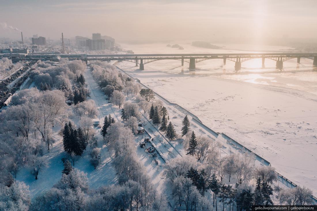 Зимний Новосибирск, набережная