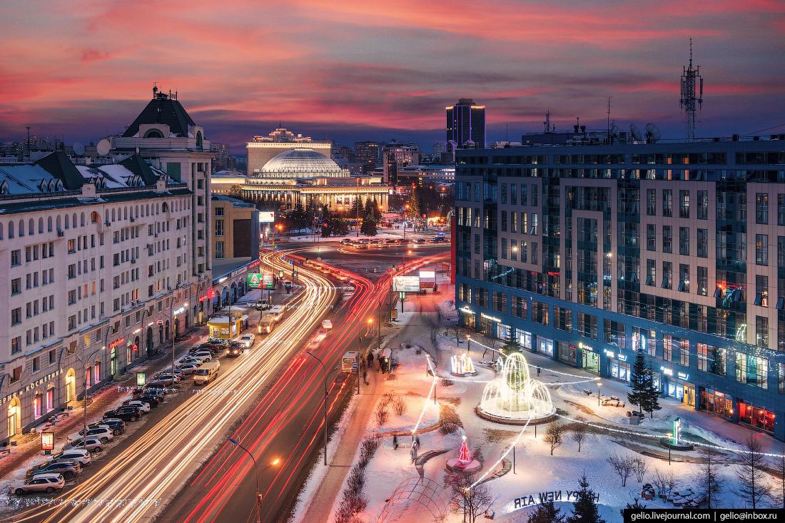 Зимний Новосибирск, сквер S7