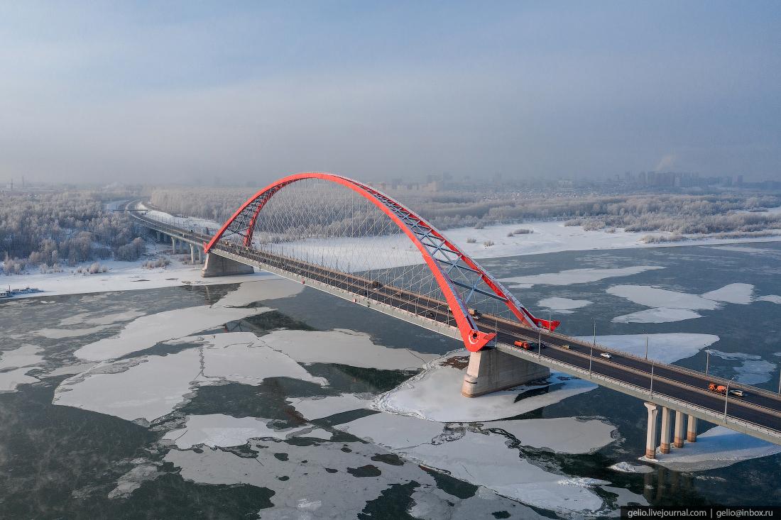 Зимний Новосибирск, Бугринский мост