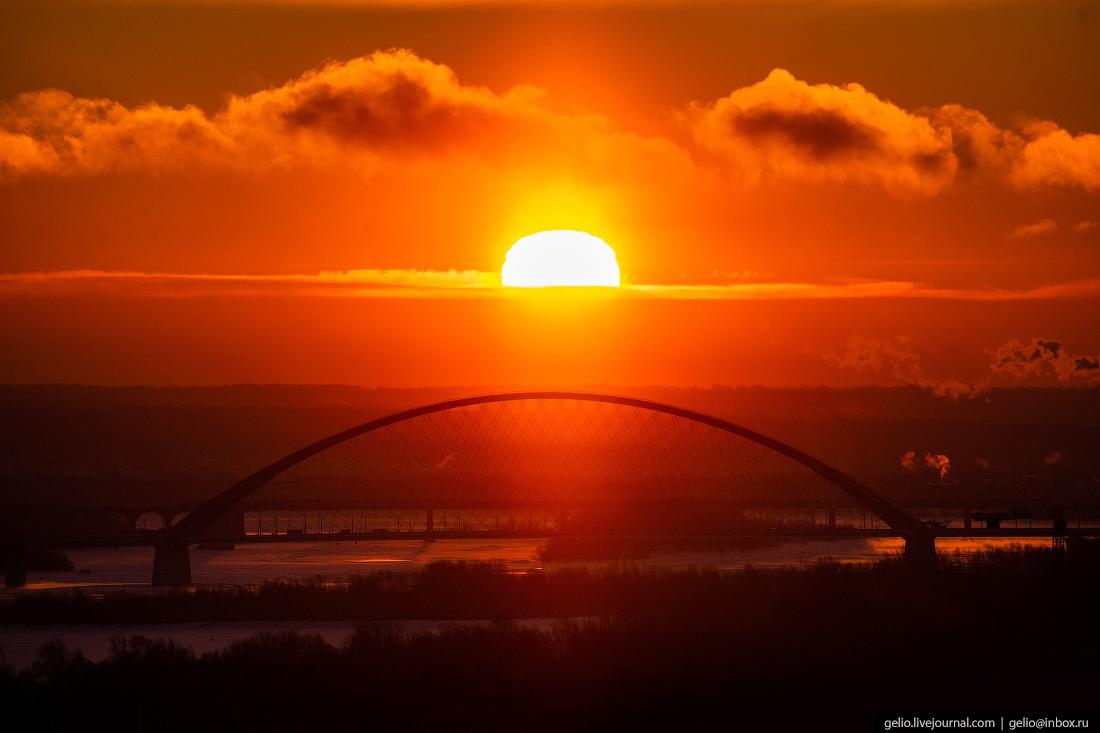 Новосибирск, Бугринский мост, рассвет