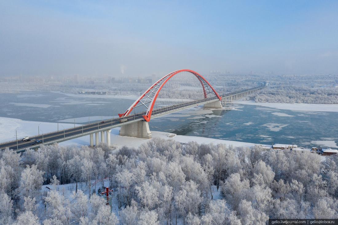 Зимний Новосибирск, Бугринский мост, рассвет