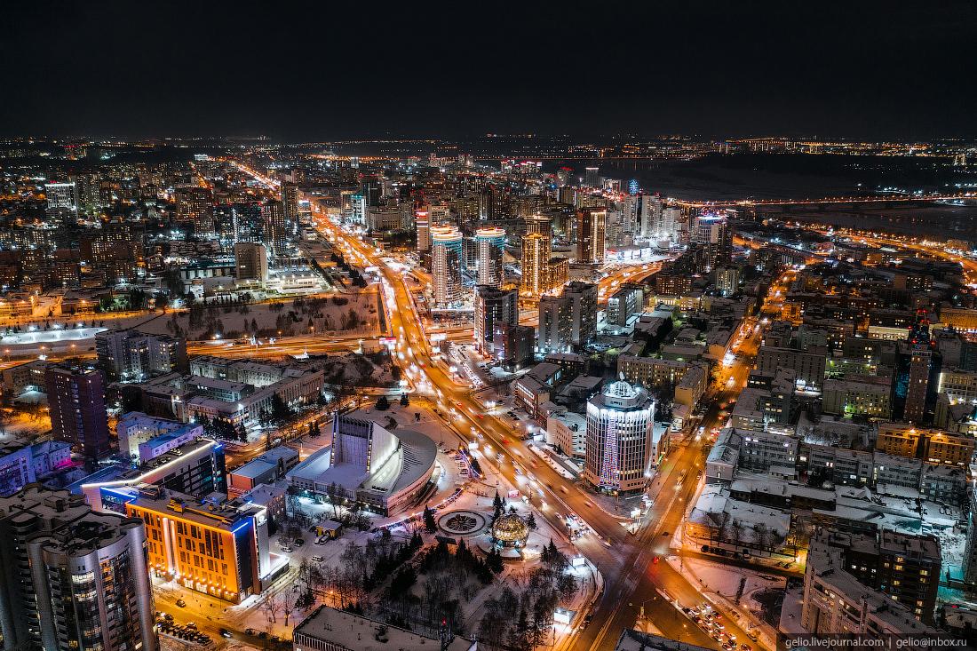 Зимний Новосибирск, ночной город