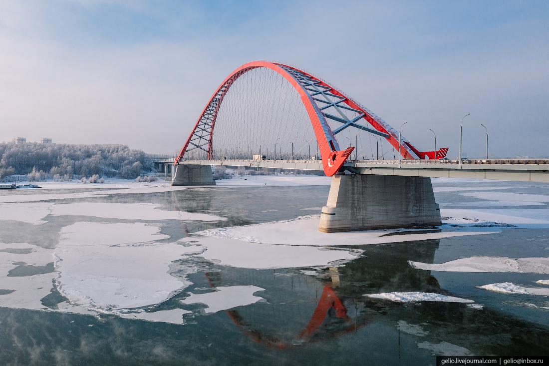 Зимний Новосибирск, мост Бугринский