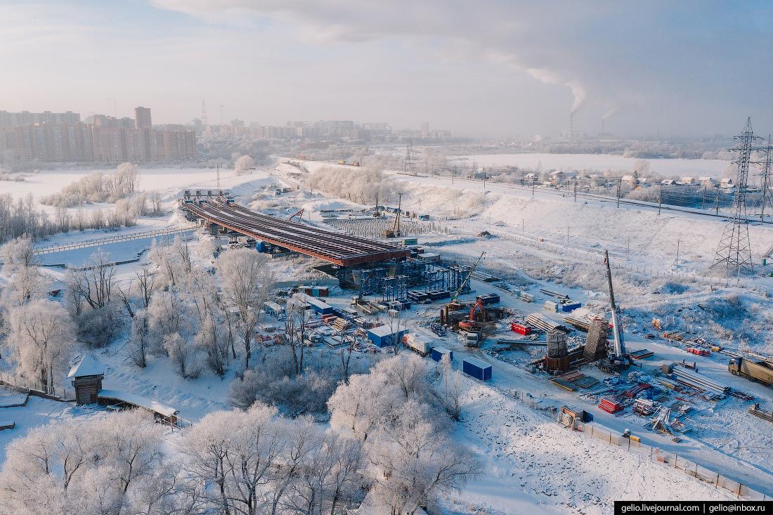 Зимний Новосибирск, строительство моста