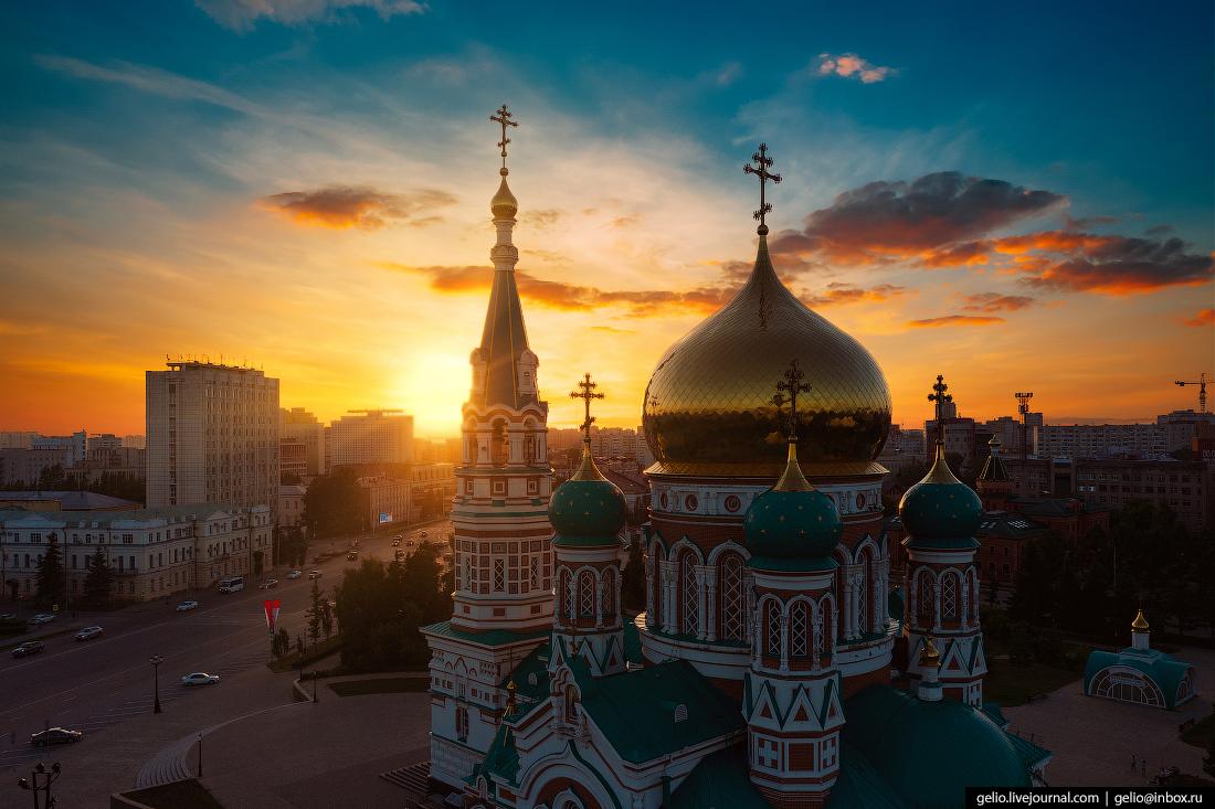 Фото Омска с высоты Успенский кафедральный собор