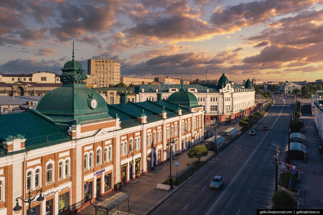 Фото Омска с высоты Московские торговые ряды