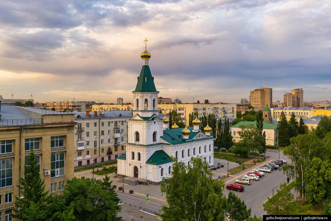 Фото Омска с высоты Военный Воскресенский собор