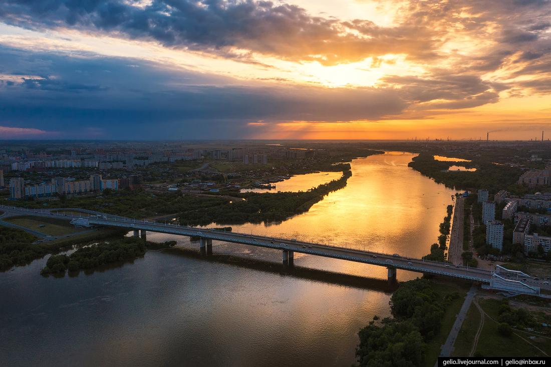 Фото Омска с высоты Мост 60-летия Победы