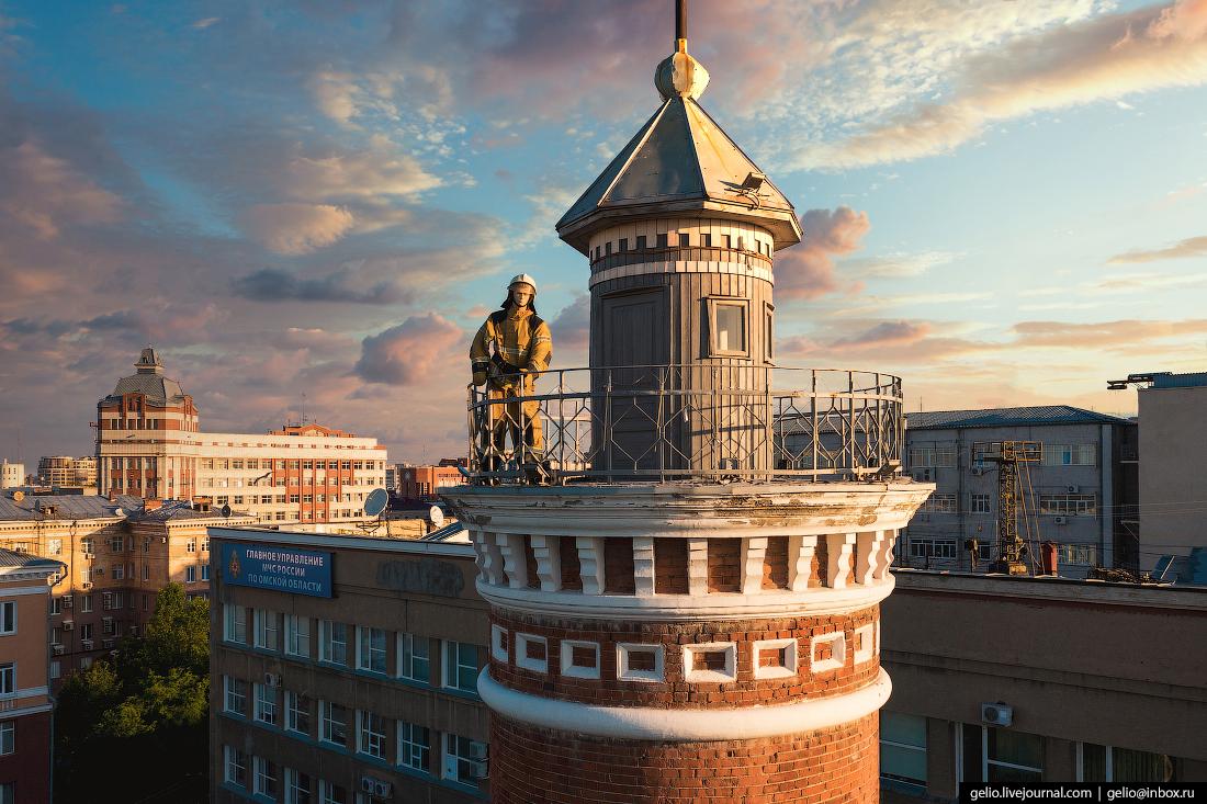 Фото Омска с высоты Пожарная каланча пожарный
