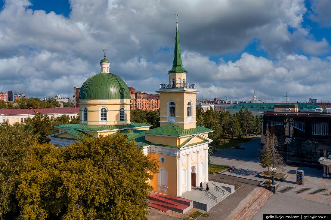 Фото Омска с высоты Свято-Никольский Казачий собор