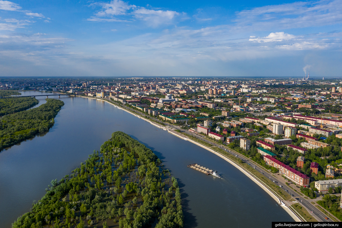 Фото Омска с высоты Иртышская набережная