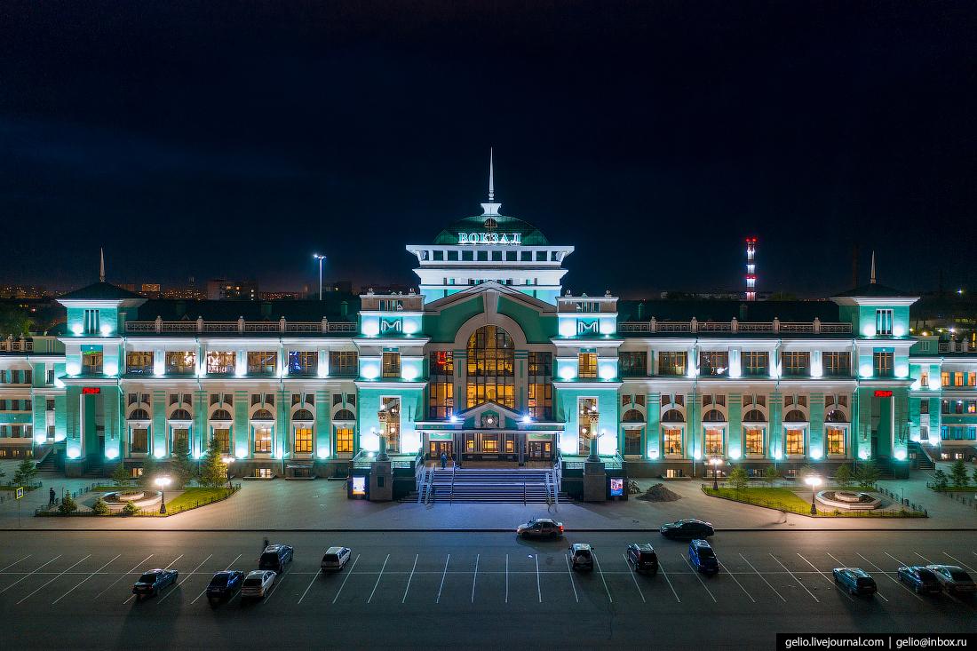 Фото Омска с высоты Железнодорожный вокзал